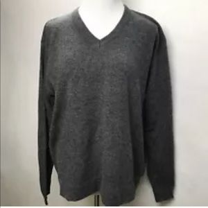 Anthropolgie Gray 100% Lambs Wool V Neck Sweater